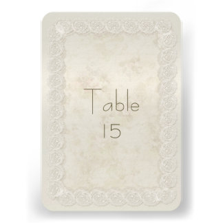 Antique Ivory Lace Wedding Reception Table Numbers Personalized Invitation