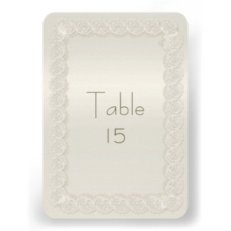 Antique Ivory Lace Wedding Reception Table Numbers Personalized Invitations