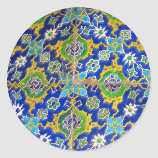 Antique Iznik Glaze Tiles  Ottoman Era Classic Round Sticker