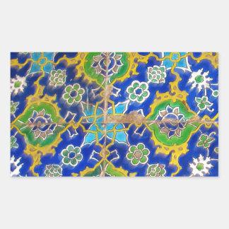 Antique Iznik Glaze Tiles  Ottoman Era Rectangular Sticker