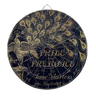 Antique Jane Austen Pride and Prejudice Peacock Dartboard With Darts