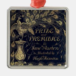 Antique Jane Austen Pride and Prejudice Peacock Square Metal Christmas Ornament