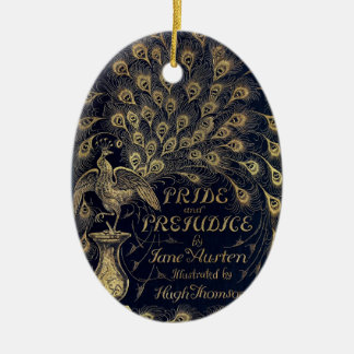 Antique Jane Austen Pride and Prejudice Peacock Double-Sided Oval Ceramic Christmas Ornament