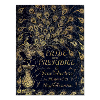 Antique Jane Austen Pride and Prejudice Peacock Poster