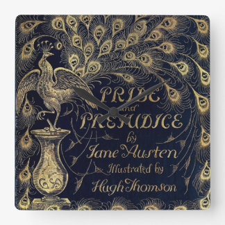 Antique Jane Austen Pride and Prejudice Peacock Square Wall Clock