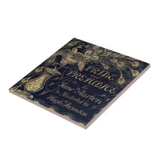 Antique Jane Austen Pride and Prejudice Peacock Small Square Tile