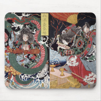 Antique Japanese Color Woodblock Print Mouse Pad