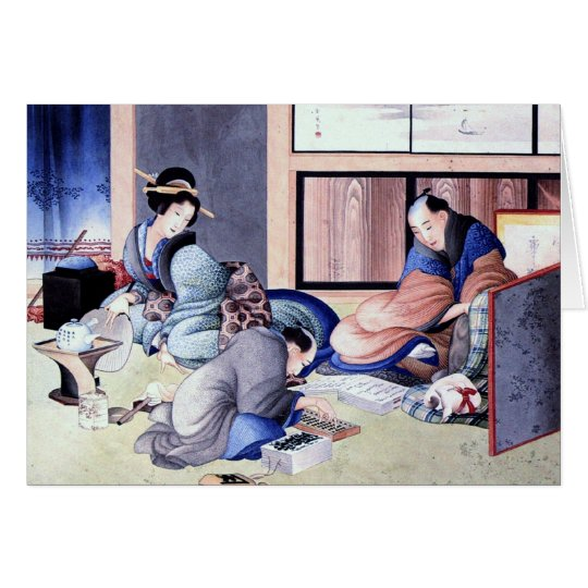 Antique Japanese Merchant and Geisha Watercolor Card