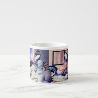 Antique Japanese Merchant and Geisha Watercolor Espresso Cup