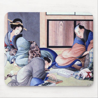 Antique Japanese Merchant and Geisha Watercolor Mouse Pad