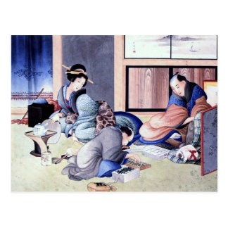 Antique Japanese Merchant and Geisha Watercolor Postcard
