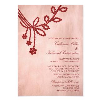 Antique Jewels Wedding Invitation, Dark Red