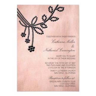 Antique Jewels Wedding Invitation, Jet Black