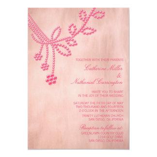 Antique Jewels Wedding Invitation, Light Pink
