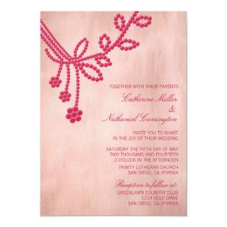 Antique Jewels Wedding Invitation, Magenta