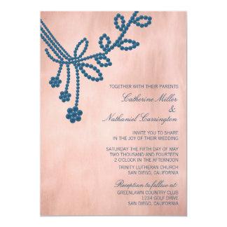 Antique Jewels Wedding Invitation, Royal Blue