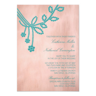 Antique Jewels Wedding Invitation, Turquoise