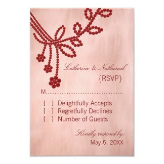 Antique Jewels Wedding Response Card, Dark Red Custom Invites