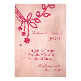 Antique Jewels Wedding Response Card, Magenta Personalized Invite