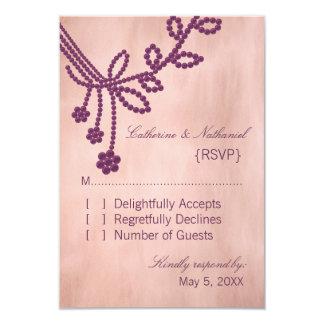 Antique Jewels Wedding Response Card, Purple Announcement