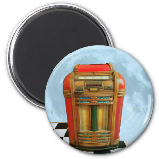 Antique Jukebox and Full Blue Moon 2 Inch Round Magnet