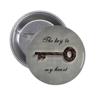 Antique key button, key to my heart or your words button