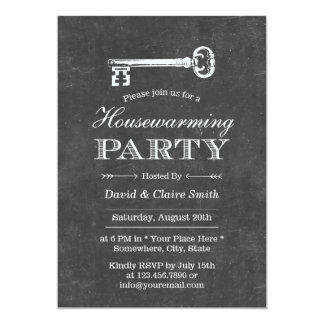 Antique Key Chalkboard Housewarming Party 5x7 Paper Invitation Card