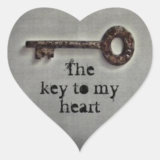Antique key heart heart sticker