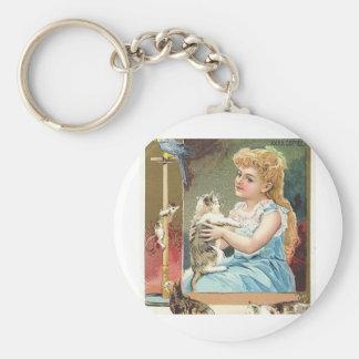 antique kitten basic round button keychain