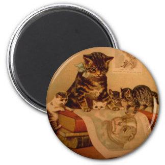 Antique Kittens & Books Kitty School 2 Inch Round Magnet