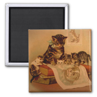 Antique Kittens & Books Kitty School 2 Inch Square Magnet