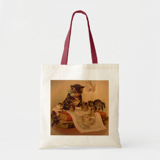 Antique Kittens & Books Kitty School Tote Bag