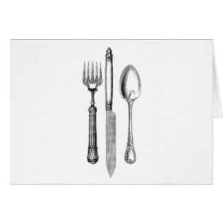 Antique knife fork and spoon combo Decoration Greeting Cards