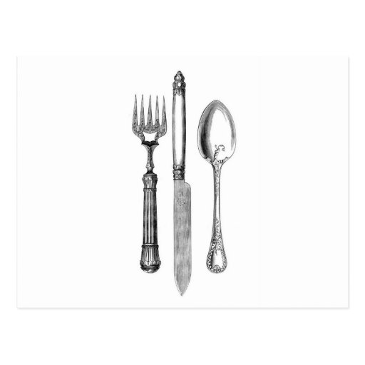 Antique knife fork and spoon combo Decoration Post Cards