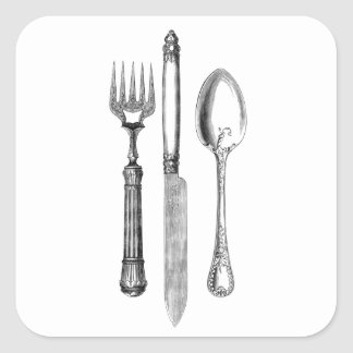 Antique knife fork and spoon combo Decoration Square Sticker