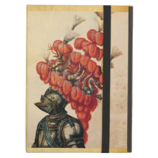 ANTIQUE KNIGHT HELMET ,DRAGONS AND RED F Parchment iPad Air Cover
