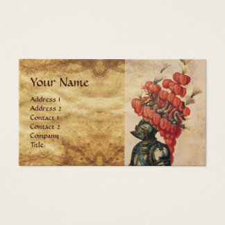 ANTIQUE KNIGHT HELMET ,DRAGONS AND RED FEATHERS BUSINESS CARD