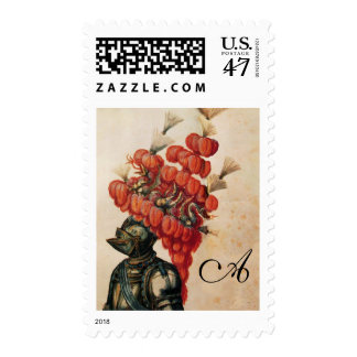 ANTIQUE KNIGHT HELMET ,DRAGONS AND RED FEATHERS POSTAGE STAMP