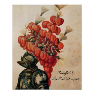 ANTIQUE KNIGHT HELMET ,DRAGONS AND RED FEATHERS POSTER