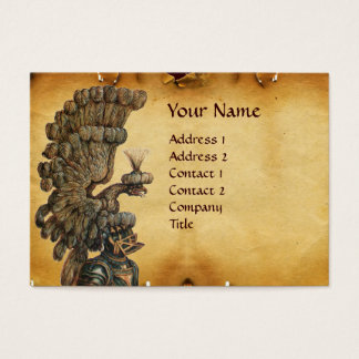 ANTIQUE KNIGHT HELMET WITH EAGLE WINGS PARCHMENT BUSINESS CARD