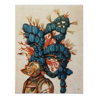 ANTIQUE KNIGHT HELMET WITH RED BLUE FEATHERS POSTER