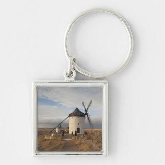 Antique La Mancha windmills, with visitors Silver-Colored Square Keychain