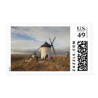 Antique La Mancha windmills, with visitors Postage