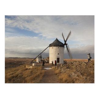 Antique La Mancha windmills, with visitors Postcard