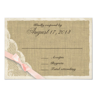 Antique Lace and blush Country Response Card