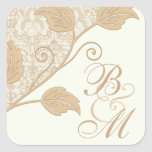 Antique Lace and Leaves Monogram Wedding Stickers