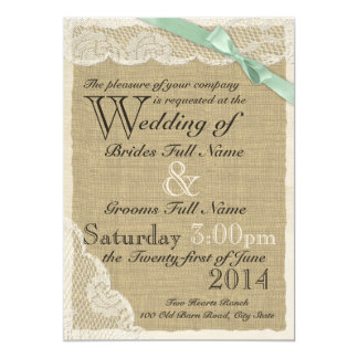 Antique Lace and Mint Bow Country Wedding 5x7 Paper Invitation Card