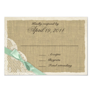 "Antique Lace and Mint Country Response Card 3.5"" X 5"" Invitation Card"