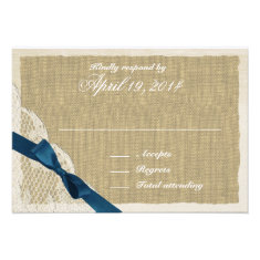 Antique Lace and Navy Country Response Card