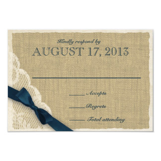 "Antique Lace and Navy Country Response Card 3.5"" X 5"" Invitation Card"